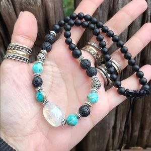 Silverskylight Jewelry - Angel aura crystal sea jasper onyx choker necklace